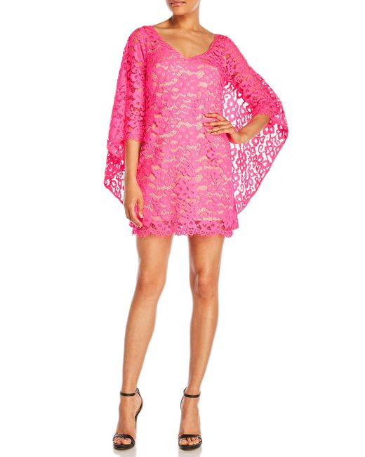 Trina Turk | Pink Iliana Three-Quarter Sleeve Cape Shift Dress | Lyst