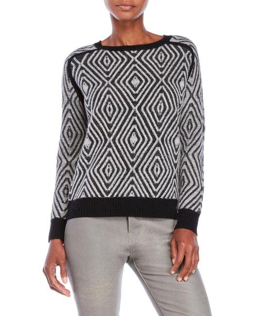 Shae | Black Diamond Pattern Knit Sweater | Lyst
