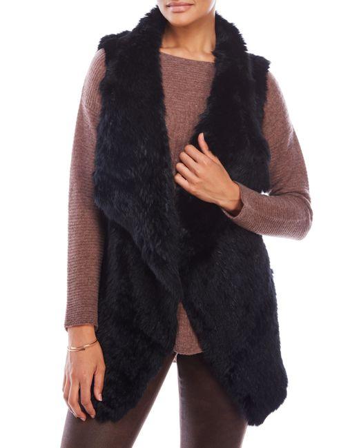 Love Token | Black Chloe Open Rabbit Fur Vest | Lyst