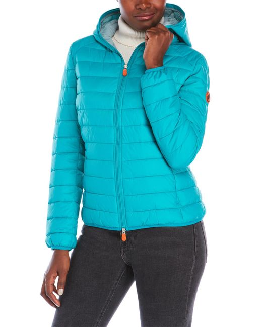 Save The Duck | Blue Packable Hooded Jacket | Lyst