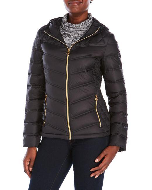Michael Michael Kors Hooded Packable Down Jacket In Black