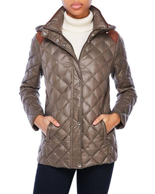 Lauren by Ralph Lauren | Brown Quilted Hooded Down Jacket | Lyst