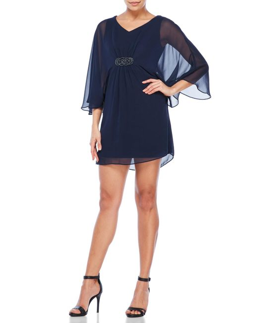 Connected Apparel Petite Embellished Chiffon Dress In Blue