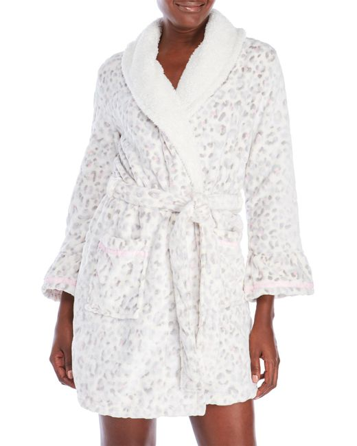 Juicy couture Leopard Plush Short Robe in White