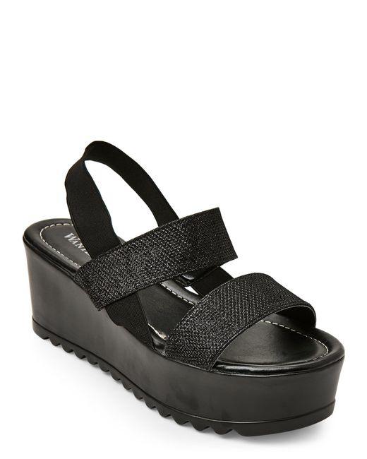 wanted black glitter torrone platform wedge sandals in