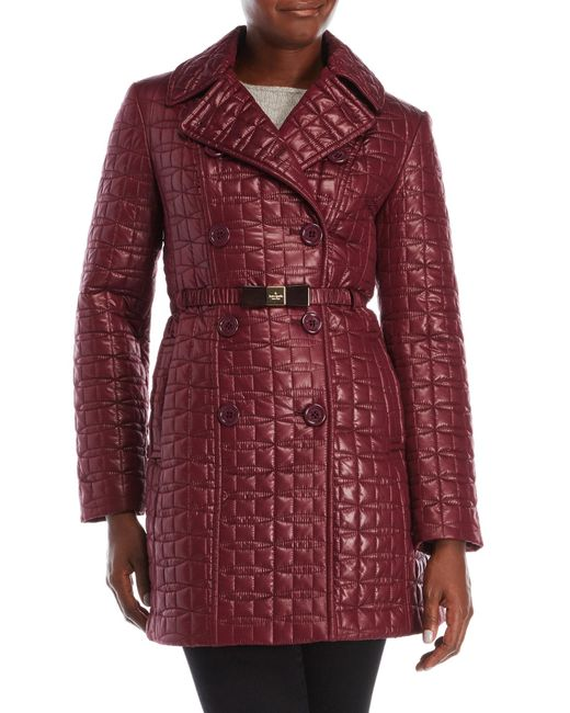 Kate Spade | Red Quilted Belt Jacket | Lyst