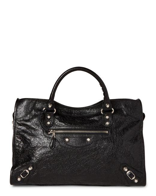 Balenciaga - Black Classic City Silver Arena Leather Bag - Lyst