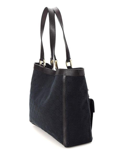 fecfef260d9 ... Gucci - Black GG Canvas Abbey Tote - Vintage - Lyst ...