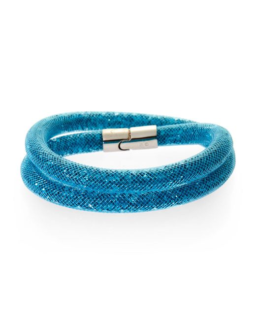 Swarovski | Blue Palladium-plated Double Wrap Bracelet | Lyst