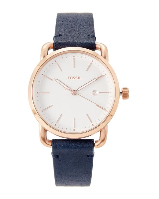 Fossil | Blue Es4334 Navy & Rose Gold-tone Watch | Lyst