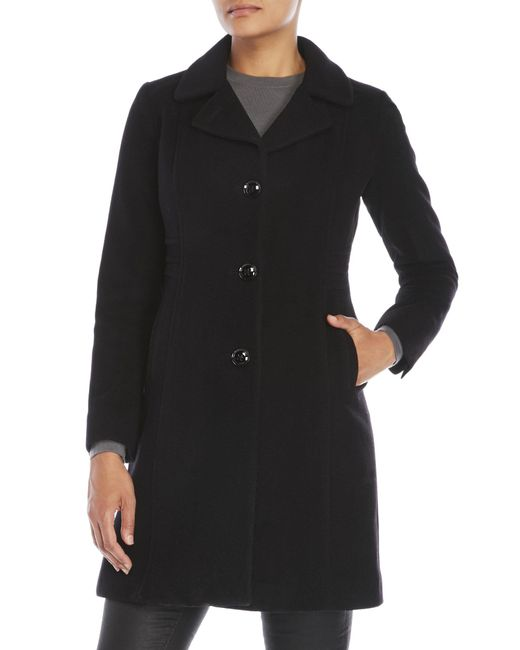 Anne Klein - Black Petite Single-Breasted Wool Coat - Lyst