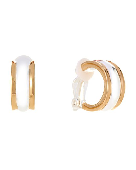 Lauren by Ralph Lauren - Multicolor Two-tone Wedding Band Clip-on Hoop Earrings - Lyst