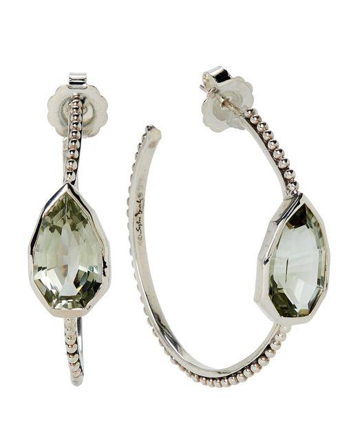 Stephen Dweck - Metallic Sterling Silver & Green Amethyst Cathedral Hoop Earrings - Lyst