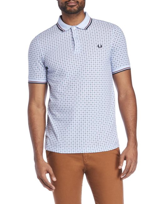 Fred Perry   Blue Drake Medallion Print Polo for Men   Lyst