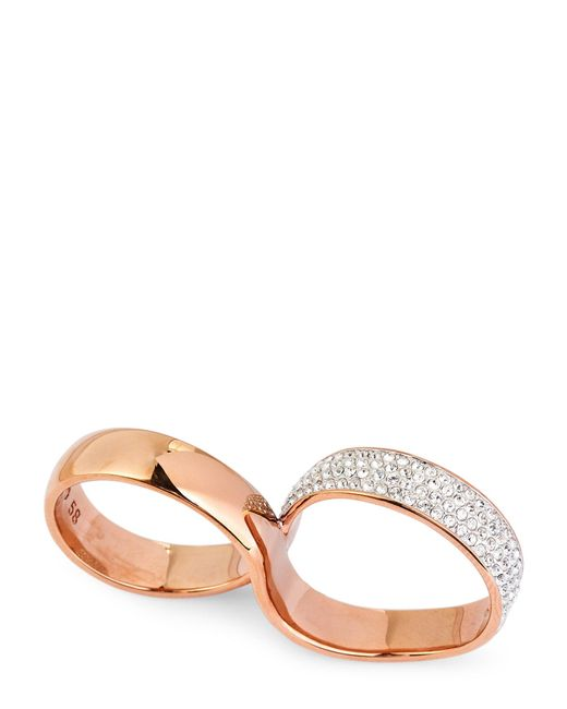 Swarovski - Metallic Rose Gold-tone Exist Double Ring - Lyst