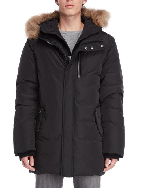 Mackage - Black Real Fur Trim Hooded Down Jacket for Men - Lyst