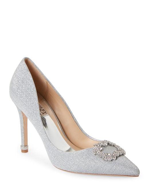 Badgley Mischka | Metallic Silver Nichole Ii Rhinestone Buckle Heels | Lyst