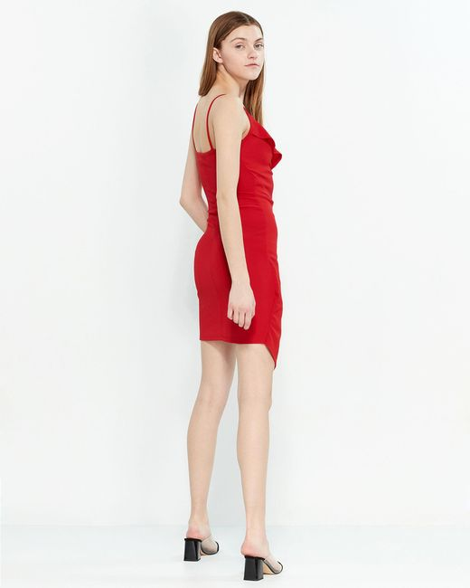c7cc03b6e ... Almost Famous - Red Ruffle Asymmetrical Wrap Dress - Lyst
