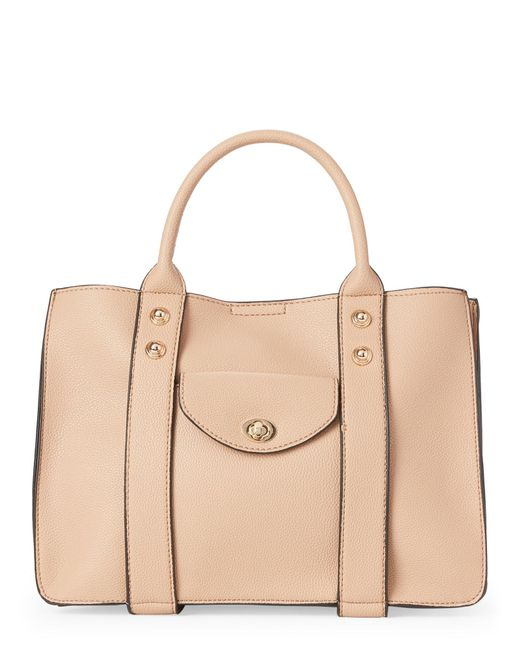 Moda Luxe - Natural Camel Rockefeller Faux Leather Satchel - Lyst