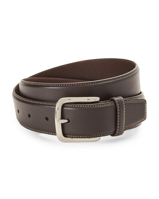 Cole Haan - Brown Contrast Stitch Leather Belt for Men - Lyst