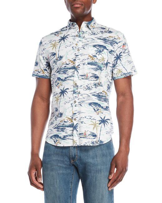 Lucky Brand - White Palm Print Short Sleeve Shirt for Men - Lyst