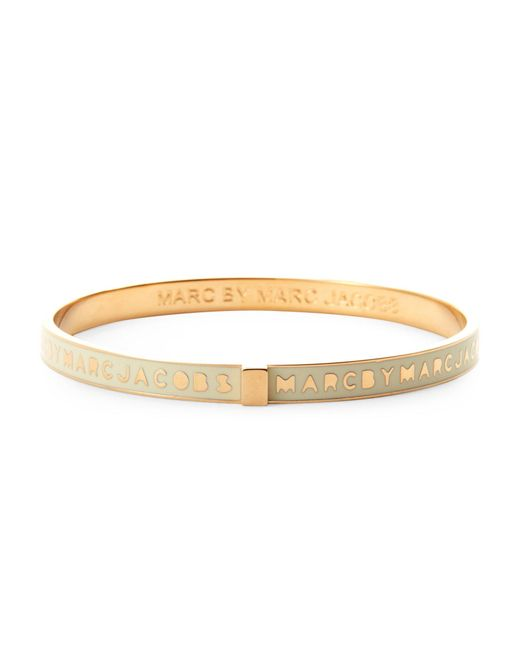 Marc By Marc Jacobs | Metallic Gold-Tone & Cream Skinny Logo Bangle Bracelet | Lyst