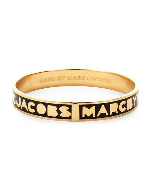 Marc By Marc Jacobs | Metallic Gold-Tone & Black Logo Bangle | Lyst