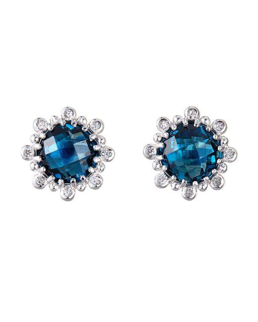 Anzie - Dew Drop London Blue Topaz & White Sapphire Stud Earrings - Lyst