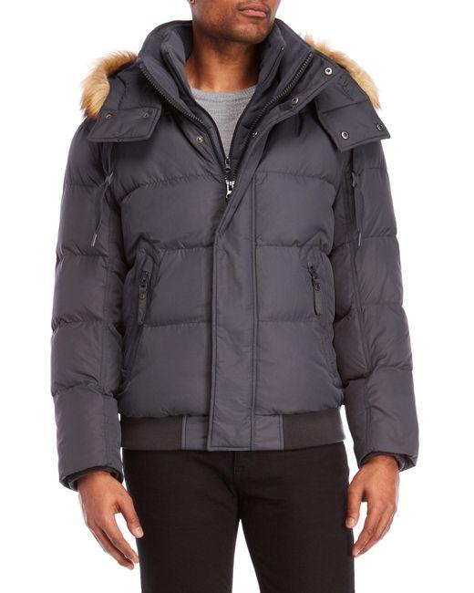 Marc New York - Gray Clermont Faux Fur Trim Down Coat for Men - Lyst