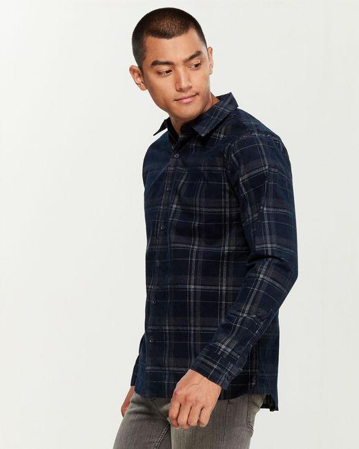 Native Youth Blue Webster Corduroy Shirt for men