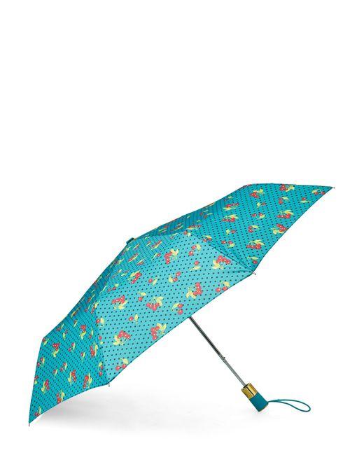 Betsey Johnson Blue Cherry Dot Auto Open Umbrella