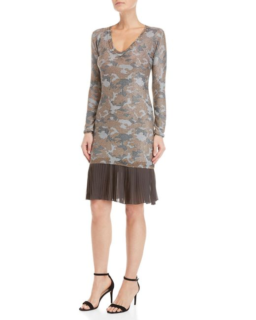 GAUDI - Gray Lurex Camo Pleated Hem Knit Dress - Lyst