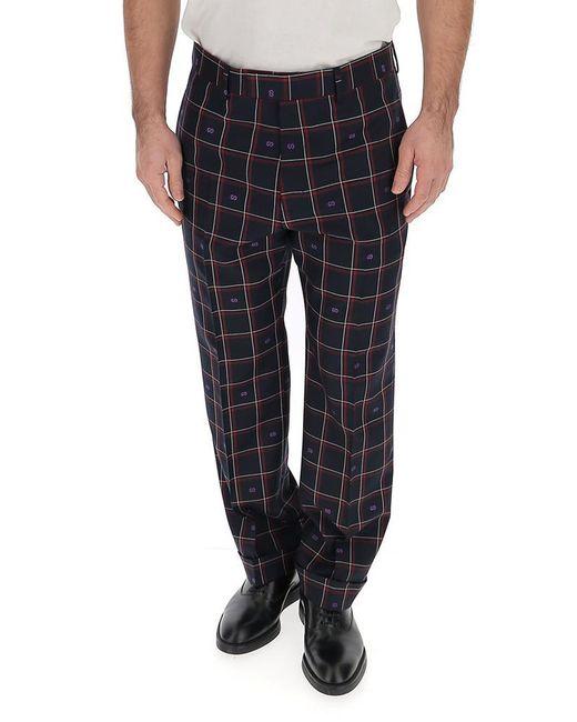 Gucci Multicolor Checked Straight Leg Pants for men