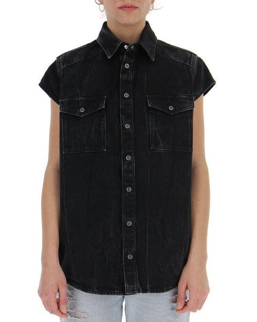 Givenchy - Black Short Sleeved Denim Shirt - Lyst