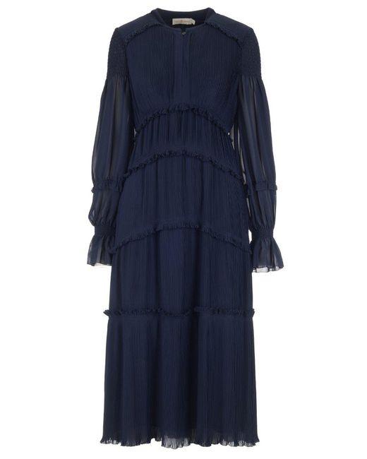 Tory Burch - Blue Long Sleeved Paneled Dress - Lyst