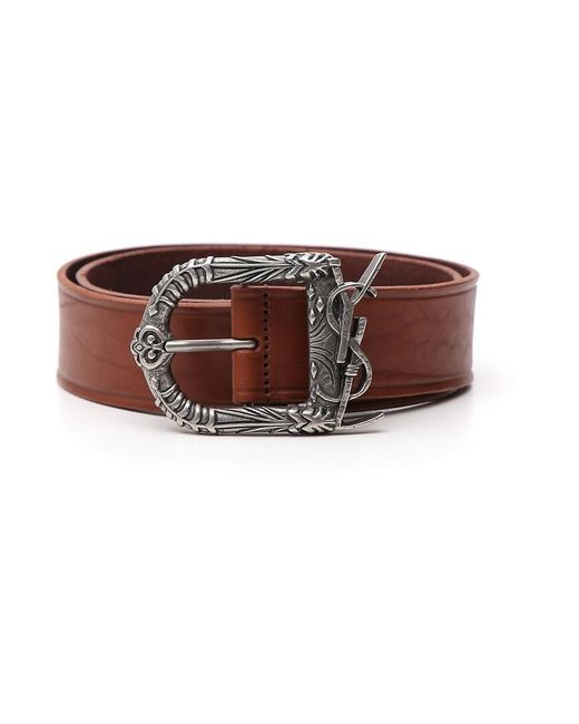 Saint Laurent - Brown Monogram Celtic Buckle Belt for Men - Lyst