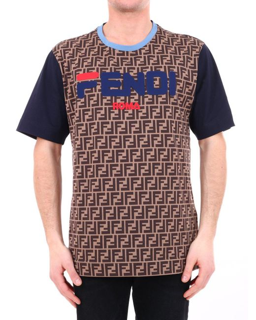 a243cd6a5e07 Fendi Mania T-shirt in Brown for Men - Save 16% - Lyst