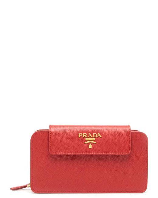 Prada - Red Logo Clutch - Lyst