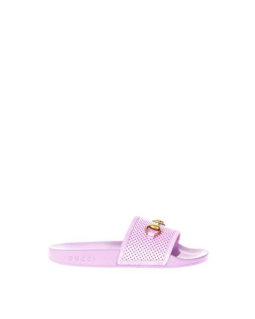 40c4cd72386 Lyst - Gucci Horsebit Slides in Pink