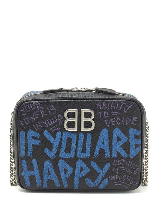 Balenciaga - Black Graffiti Reporter Crossbody Bag - Lyst