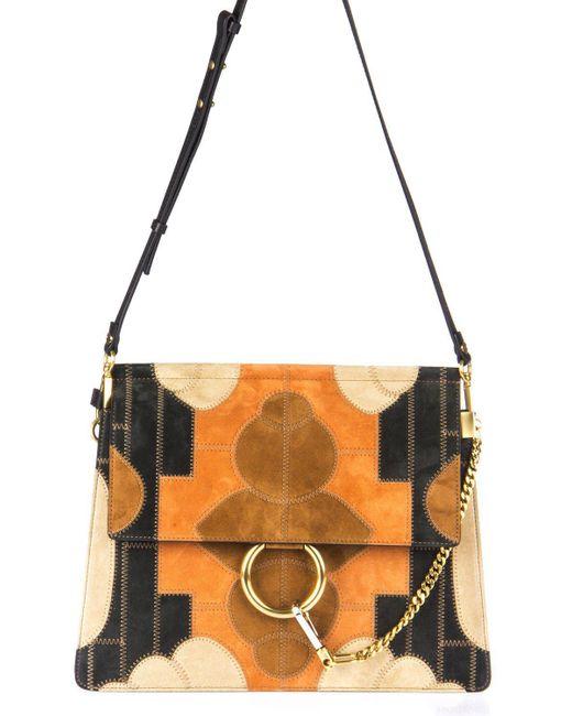 Chloé - Orange Faye Patchwork Shoulder Bag - Lyst