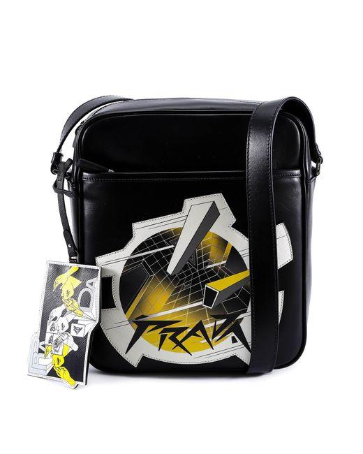 Prada - Black Printed Messenger Bag for Men - Lyst