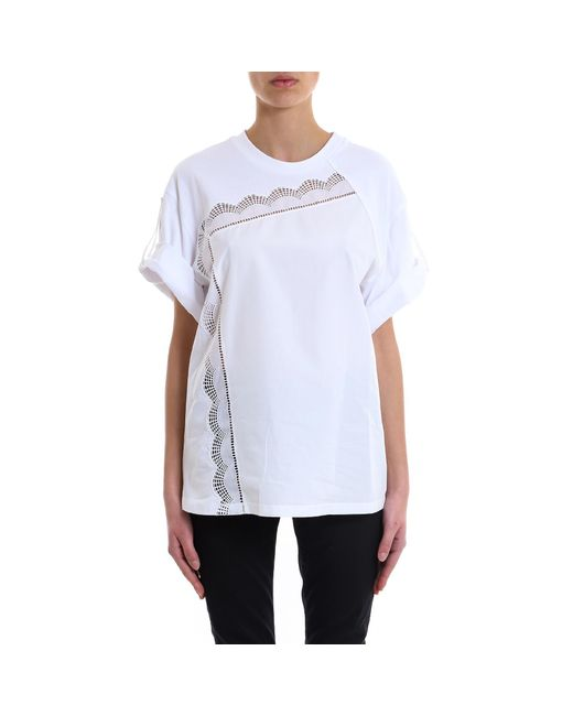 bc70bebb69857 Lyst - 3.1 Phillip Lim Lace Crewneck T-shirt in White