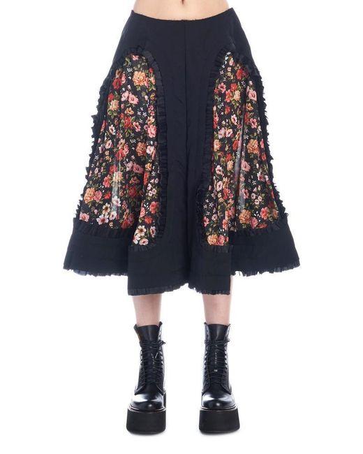 Comme des Garçons - Blue Floral Print Patch Skirt - Lyst