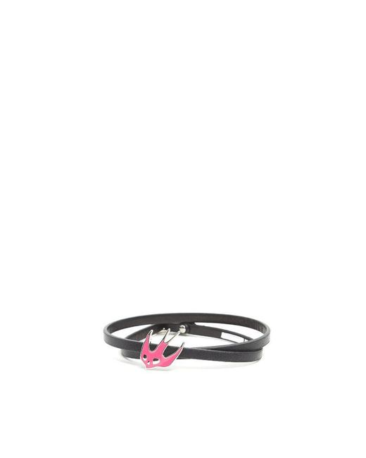 McQ Alexander McQueen - Pink Skull Swallow Leather Bracelet - Lyst
