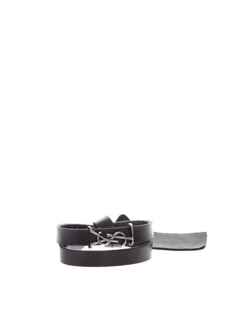 Saint Laurent - Black Monogram Wrap Bracelet - Lyst