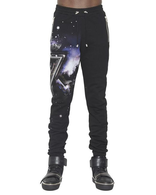 Balmain - Black Pyramid Print Track Pants for Men - Lyst