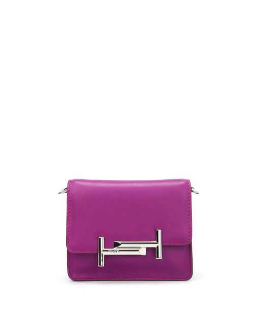 Tod's - Purple Double T Leather Crossbody Bag - Lyst