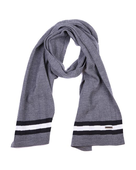Bally - Gray Striped Logo Detail Scarf for Men - Lyst