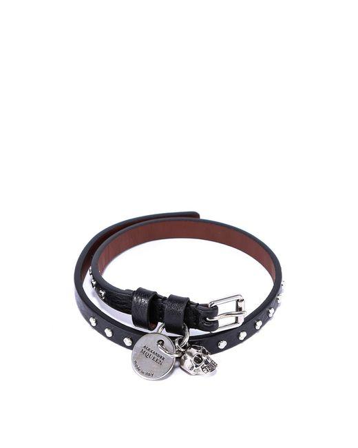 Alexander McQueen - Black Studded Leather Wrap Bracelet - Lyst
